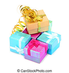 gift boxes - color gift boxes on white background