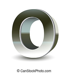 3d silver steel letter O isolated white background