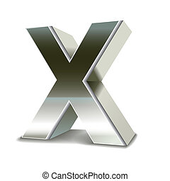 3d silver steel letter X isolated white background