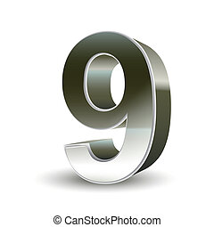3d silver steel number 9 isolated white background