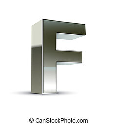 3d silver steel letter F isolated white background
