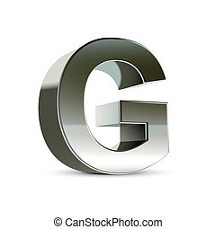 3d silver steel letter G isolated white background