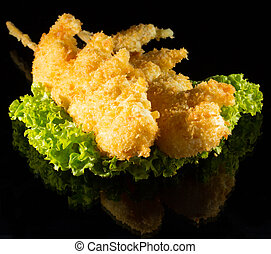 chicken in breading on skewer