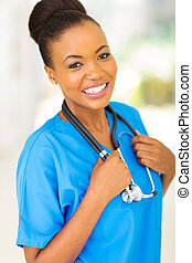 young african nurse in hospittal - portrait of young africa...