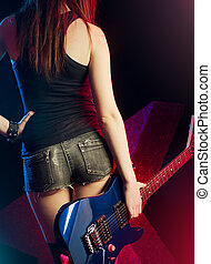 Rock star girl with guitar - Rock star girl with electric...