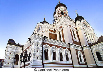 A cathedral of Alexander Nevskiy is in old town in Tallinn,...