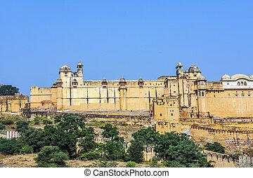 Famous Rajasthan landmark - Amber fort, Rajasthan, India -...