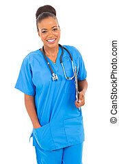 african healthcare worker holding clipboard - beautiful...