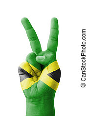 mano, Elaboración, V, señal, jamaica, bandera,...