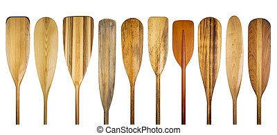 wooden canoe paddles - a row of 10 wooden canoe paddles, a...