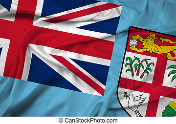 Waving Fiji Flag