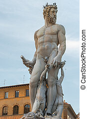 Statue of Neptun in Florence, Italy - Statue of Neptun in...