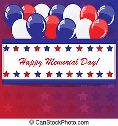 Memorial day background with balloons and American flag...