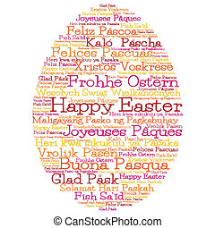 """Easter egg made from """"Happy Easter"""" in 12 different..."""