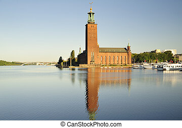 Stockholm city hall - City hall at early spring , Stockholm,...