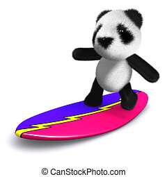 3d Panda surfs - 3d render of a panda on a surfboard