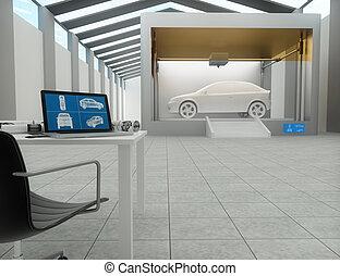 3d printer, printing car - 3d printer in factory, printing...