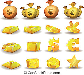 Gold Credit, Money, Coins Set For Game Interface -...