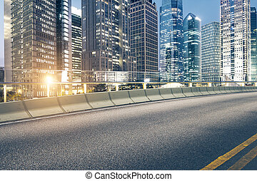 road and city - The city and the road in the modern office...