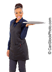 young waitress with an empty tray - attractive young...