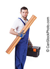 Man with toolbox and gutter - Young man in gloves with...