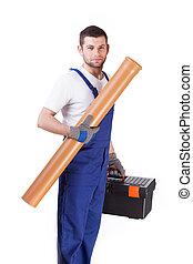 hombre, caja de herramientas, canal