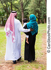 middle eastern family walking at the park