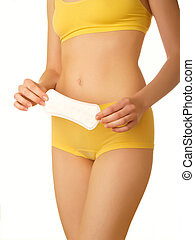 woman body - Perfect female body isolated on white. Tampon...
