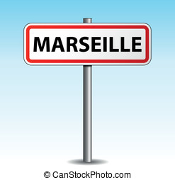 Vector marseille signpost - Vector illustration of marseille...