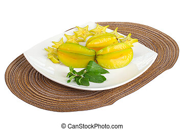carambola - Sliced starfruit.Exotic tropical fruit plate...