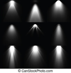 Black and white light sources Vector set - Set black and...