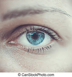 Blue woman eye macro. Vector