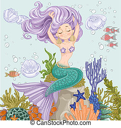 Beautiful mermaid straightens hair sitting on a rock with algae and anemones