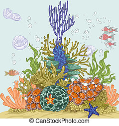 Coral reef illustration 1 - Coral reef illustration with sea...