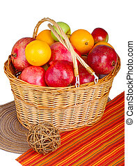 fruits in wicker basket