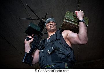 Mercenary - Armed mercenary with submachine gun and box of...