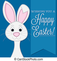 quot;Wishing you a Happy Easterquot; retro style bunny card...