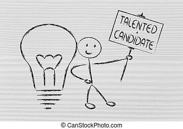 man with ideas and knowledge: talented candidate -...