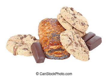 Galletas, croissant, algunos, chocolate, Escamoso, Pastel,...
