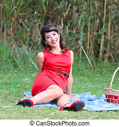 pin-up woman - young beautiful woman portrait on a blanket...
