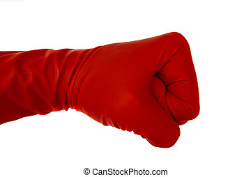Red rubber glove showing different signs