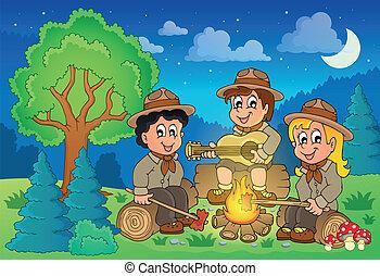 Children scouts theme image 2 - eps10 vector illustration.