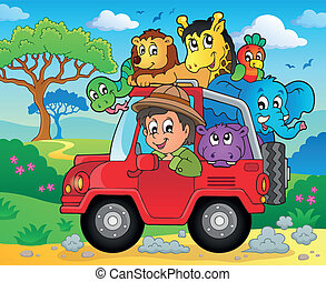 Car with traveller theme 3 - eps10 vector illustration