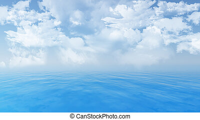 Blue ocean landscape - 3D render of a blue ocean and fluffy...