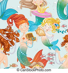 Seamless pattern with mermaids playing with jewelry