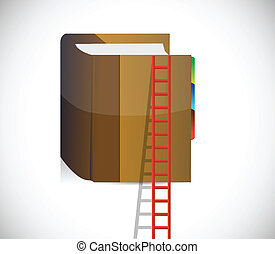 ladder and book climbing concept. illustration design over a...
