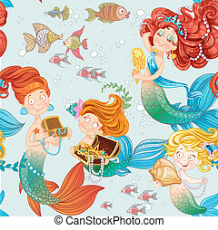 Seamless pattern with cute mermaids playing with jewelry