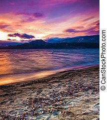 Vibrant Lakeshore Sunset