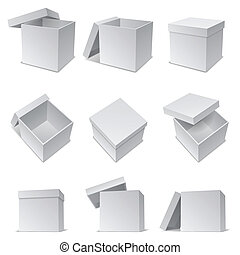 White boxes. - Set of 9 opened and closed white paper boxes.