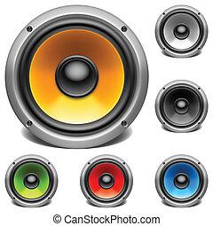 Color audio speakers. - Set of 6 color audio speakers.